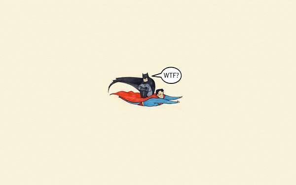 スーパーマンの背中に乗ったバットマンのかわいいイラスト