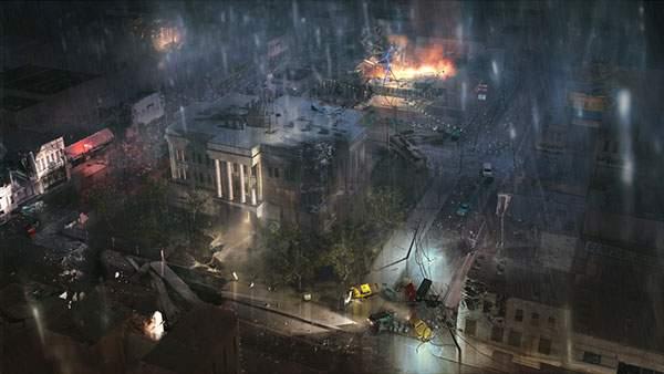 雨の夜に起きた事故を描いた高画質なイラスト