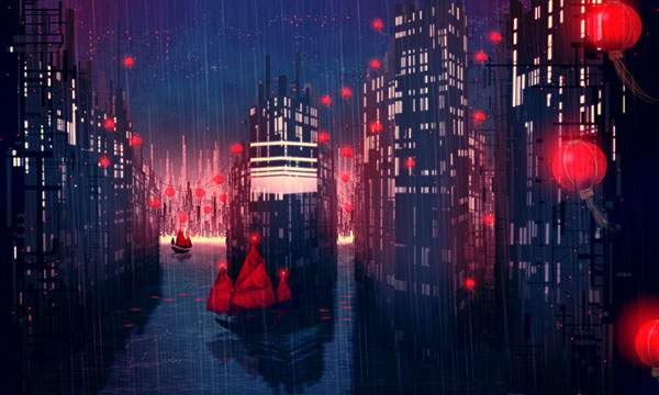 雨と街と船の幻想的なイラスト