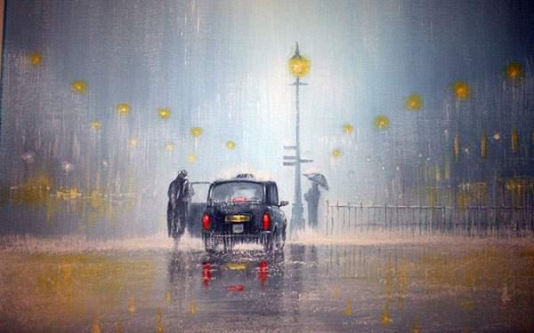 雨に滲む街を描いたおしゃれなイラスト壁紙