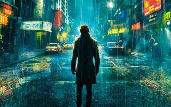 映画「ウォッチメン」を題材にした雨の街のイラスト