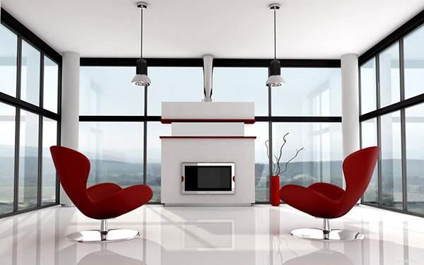 海の見えるガラス張りの部屋と赤い椅子のおしゃれなインテリア
