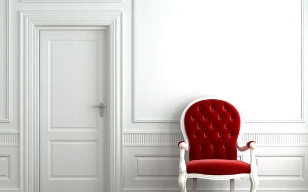白い部屋と赤いソファーのおしゃれなインテリア壁紙