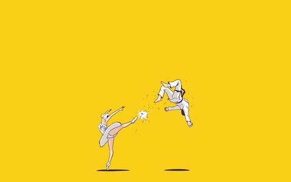 すべての折り紙 折り紙 葉っぱ : 格闘家を蹴り飛ばすバレリーナ ...