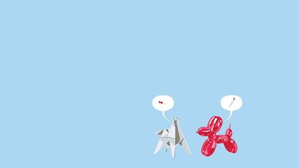 折り紙のイヌと風船のイヌの口喧嘩