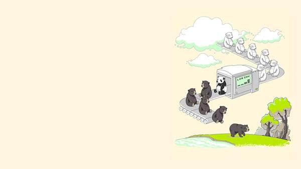 白クマを黒クマにする工場(インク綺麗でパンダ)