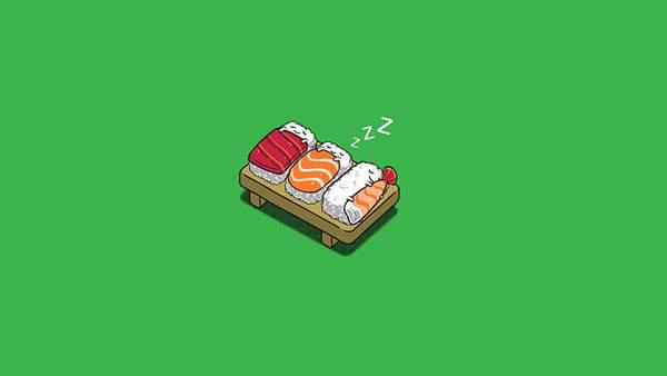 ネタの布団で眠るご飯のかわいいお寿司のイラスト