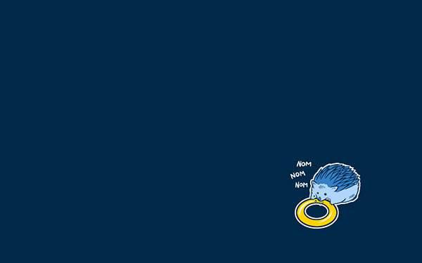 リングをモグモグ食べるリアルハリネズミなソニックのイラスト