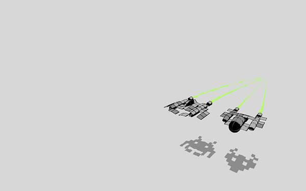 影がインベーダーな宇宙船のイラスト壁紙