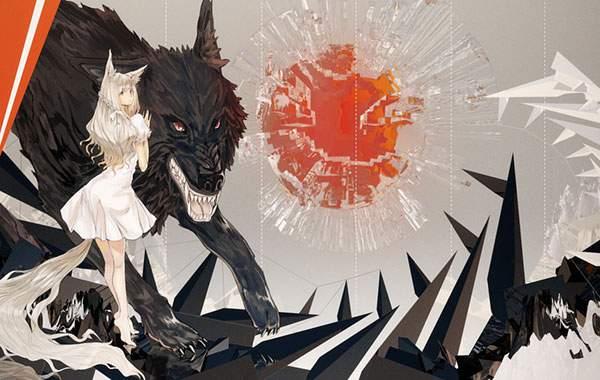 巨大な狼とおおかみ少女をデザインしたイラスト壁紙