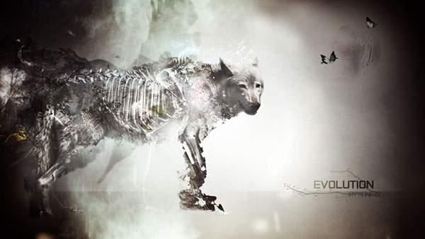 狼をデザインしたグラフィックアート系壁紙