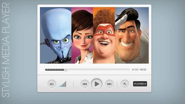 Stylish Media Player PSD & CSS