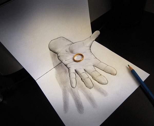 トリックアートな飛び出す立体スケッチ作品 - 01