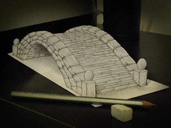 トリックアートな飛び出す立体スケッチ作品 - 06