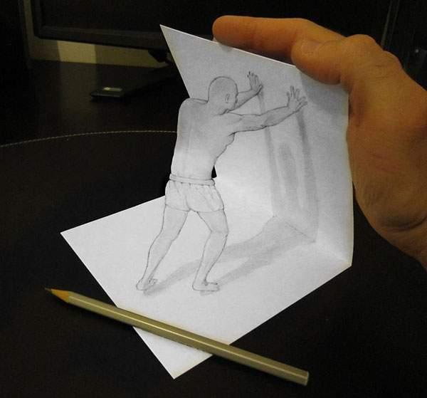 トリックアートな飛び出す立体スケッチ作品 - 07