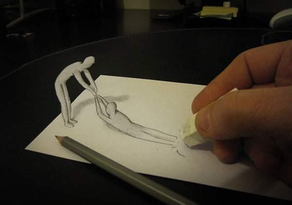 トリックアートな飛び出す立体スケッチ作品 - 08