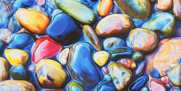 色鉛筆とクレヨンだけで描いたカラフルな石の絵画 - 01