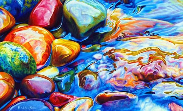 色鉛筆とクレヨンだけで描いたカラフルな石の絵画 - 02