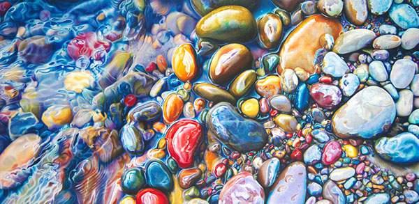 色鉛筆とクレヨンだけで描いたカラフルな石の絵画 - 03