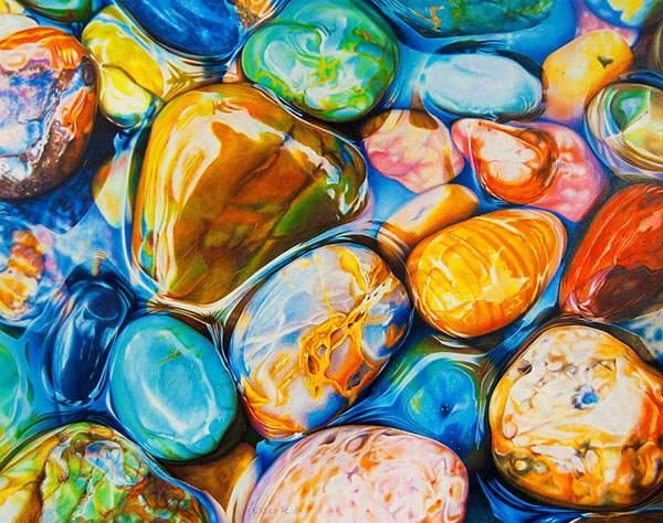 色鉛筆とクレヨンだけで描いたカラフルな石の絵画 - 04
