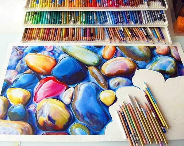 色鉛筆とクレヨンだけで描いたカラフルな石の絵画 - 05