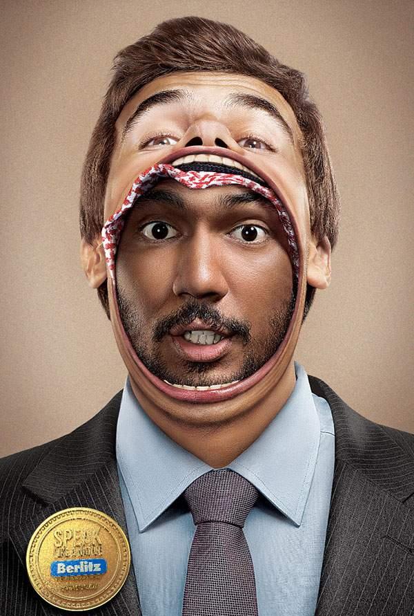 人の口の中に別の人がいる驚きのグラフィックデザインのポスター - 03