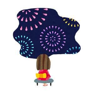 花火のイラスト「浴衣を着た女の子」