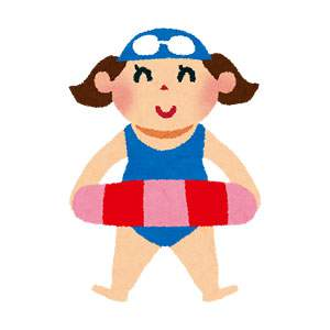 海水浴のイラスト「水着の女の子」
