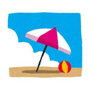 海のイラスト「ビーチパラソル」