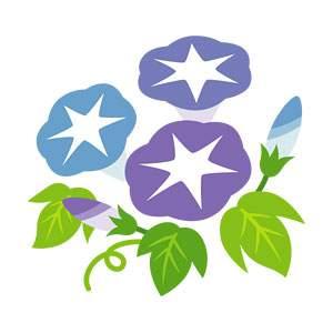 アサガオのイラスト素材(青・青紫)