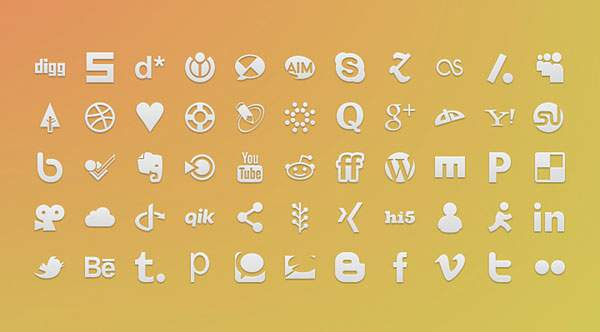 Square Icons Social (PSD)