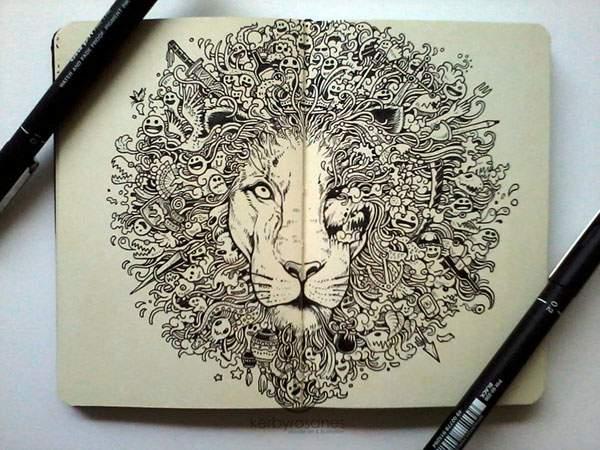 モレスキンノートにペン一本で描いたハイレベル過ぎる落書きアート - 01
