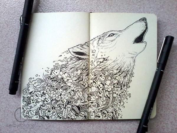モレスキンノートにペン一本で描いたハイレベル過ぎる落書きアート - 02