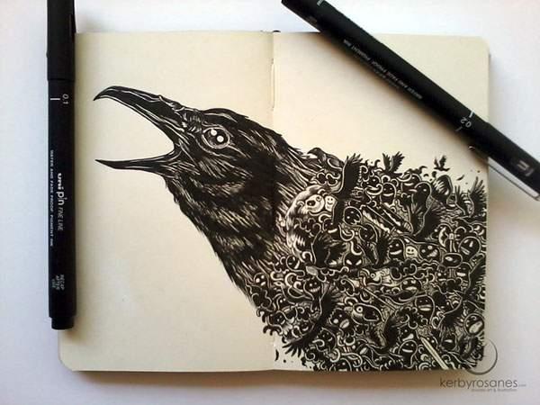 モレスキンノートにペン一本で描いたハイレベル過ぎる落書きアート - 03