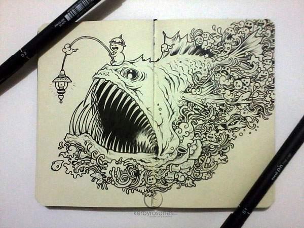 モレスキンノートにペン一本で描いたハイレベル過ぎる落書きアート - 04