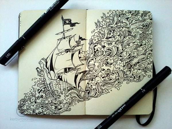 モレスキンノートにペン一本で描いたハイレベル過ぎる落書きアート - 05