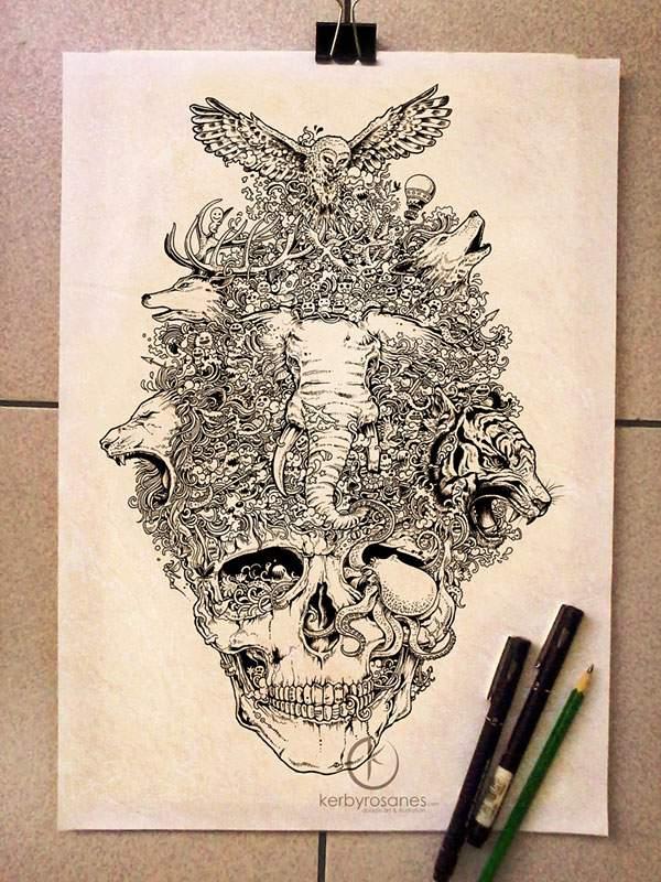 モレスキンノートにペン一本で描いたハイレベル過ぎる落書きアート - 06