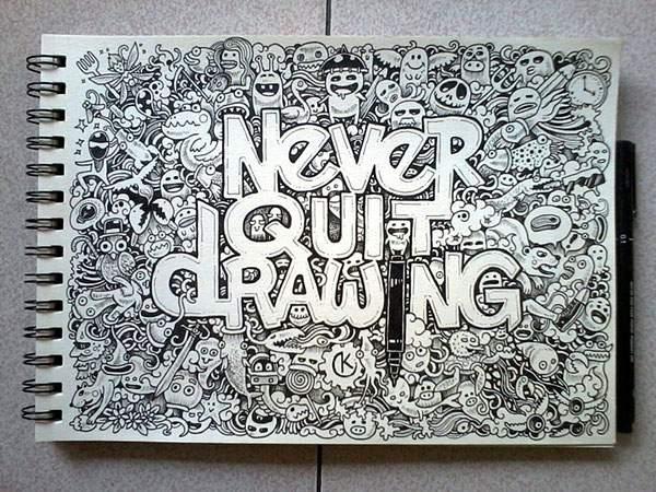 モレスキンノートにペン一本で描いたハイレベル過ぎる落書きアート - 07