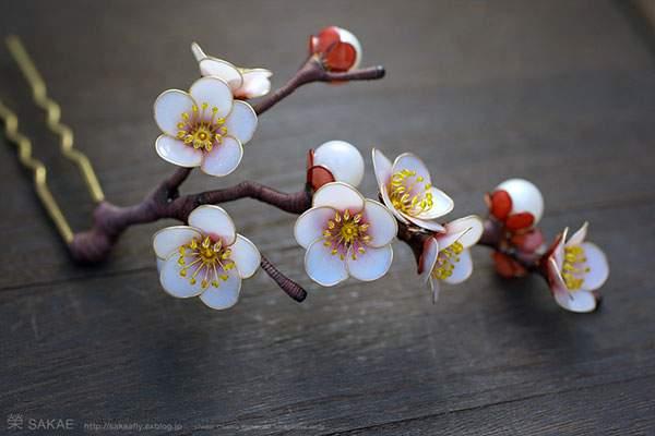 白梅 簪 kanzashi「ひと枝」