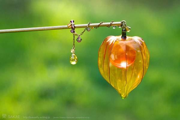 鬼灯(ホオズキ) 簪「狐燈」Chinese lantern