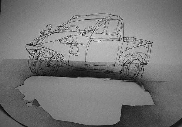 紙というよりは糸に近いレベルの切り絵アート - 02
