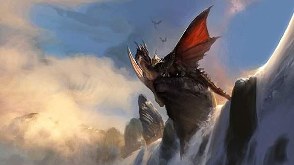 滝の上の岩に座った龍をデザインした綺麗なイラスト壁紙
