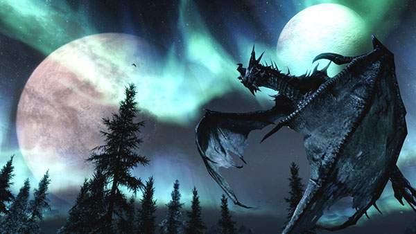 月とオーロラをバックにした美しい龍のイラスト