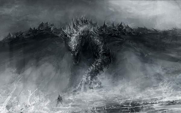 迫力満点で迫ってくる荒々しいドラゴンをデザインしたイラスト壁紙