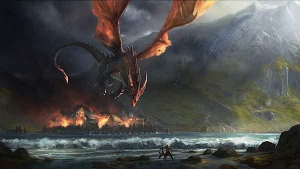 空から街を侵略する炎の龍を描いたイラスト壁紙