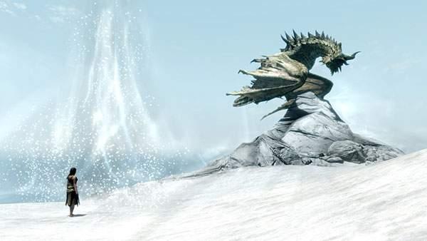 雪原の岩の上に降り立ったドラゴンと女性を描いた壁紙画像