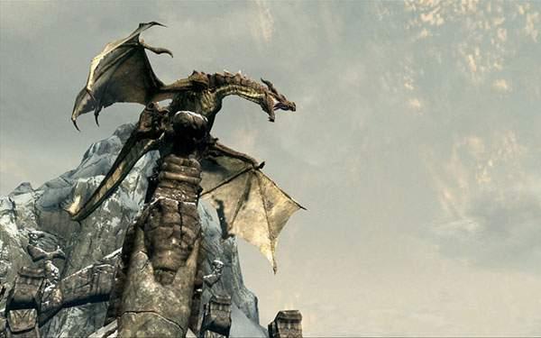 柱の上に乗ったドラゴンのリアルなイラスト壁紙画像