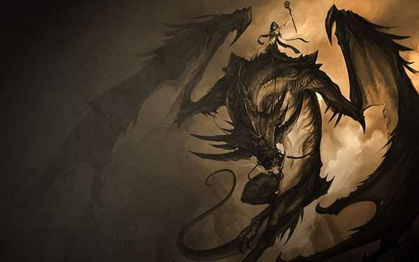 龍を乗りこなす女性のカッコイイ壁紙画像