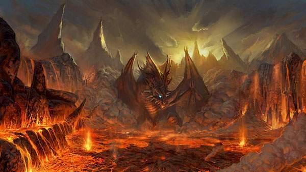 溶岩の中の炎の龍を描いた美しいイラスト壁紙画像