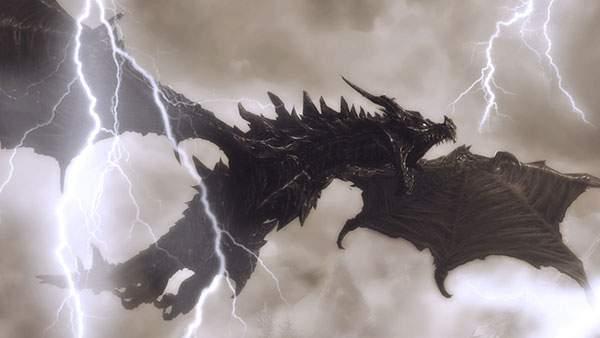 雷雲の中を飛ぶ黒い龍の美しいイラスト壁紙
